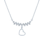 (100083) White Cubic Zirconia Heart Necklace In Sterling Silver