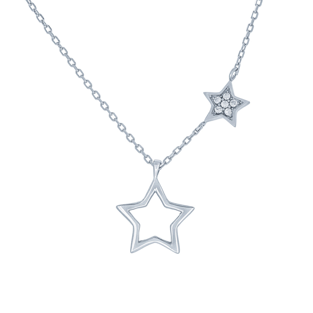 (100084) White Cubic Zirconia Stars Necklace In Sterling Silver