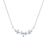 (100085) White Cubic Zirconia Necklace In Sterling Silver
