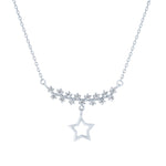 (100087) White Cubic Zirconia Star Necklace In Sterling Silver
