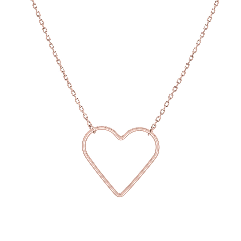 (100088A) Heart Necklace In Sterling Silver and Rose Gold Plate