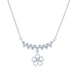 (100089) White Cubic Zirconia Flower Necklace In Sterling Silver