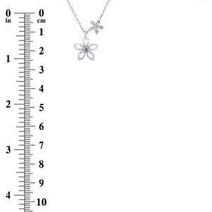 (100090) White Cubic Zirconia Flowers Necklace In Sterling Silver