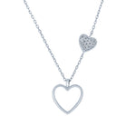 (100091) White Cubic Zirconia Hearts Necklace In Sterling Silver