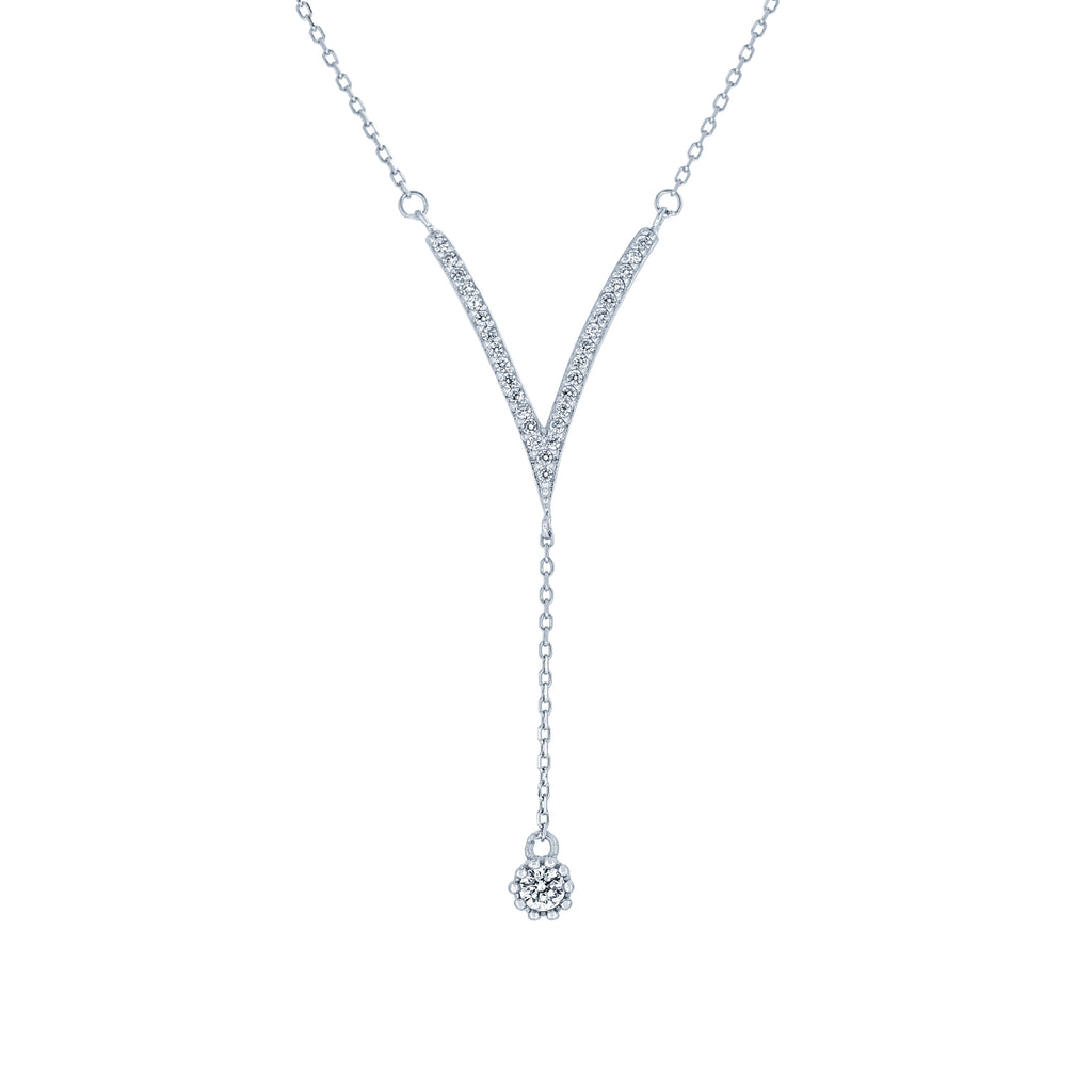 (100092) White Cubic Zirconia Necklace In Sterling Silver