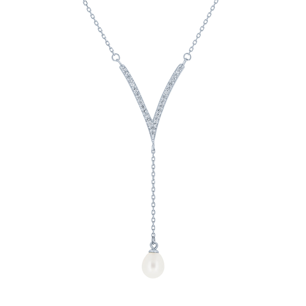 (100093) 6.5-7mm Freshwater Cultured Pearl White Cubic Zirconia Necklace In Sterling Silver