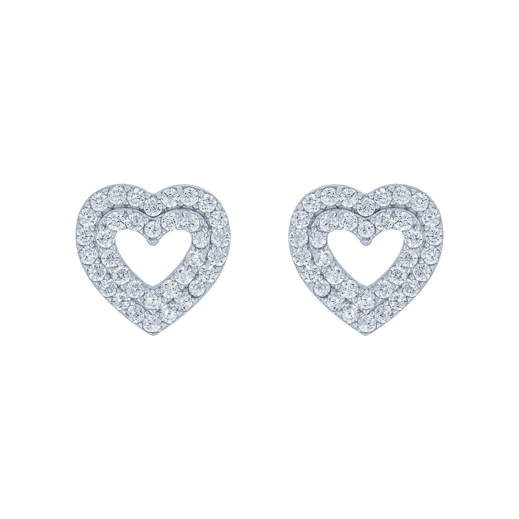 (100094) White Cubic Zirconia Double Layers Hearts Stud Earrings In Sterling Silver