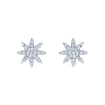 (100095) White Cubic Zirconia Polar Star Stud Earrings In Sterling Silver