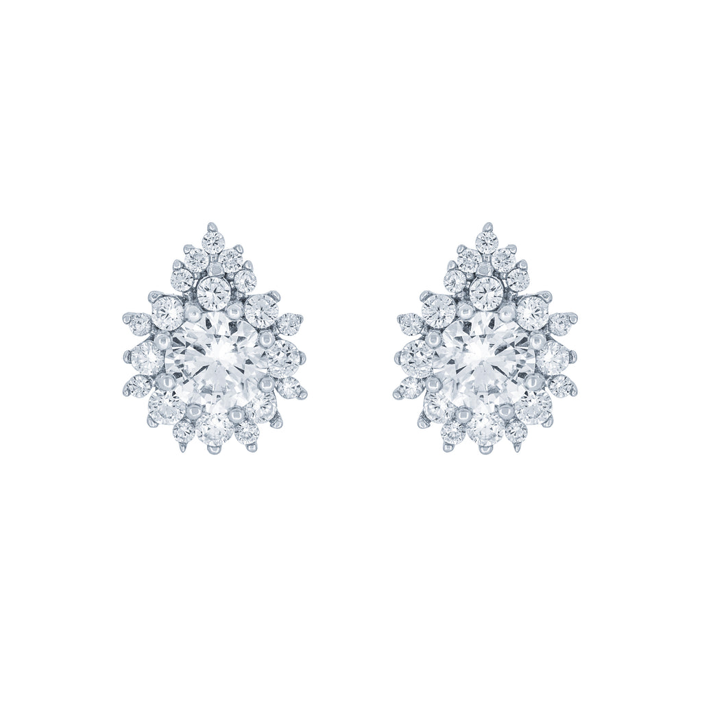 (100096) White Cubic Zirconia Stud Earrings In Sterling Silver