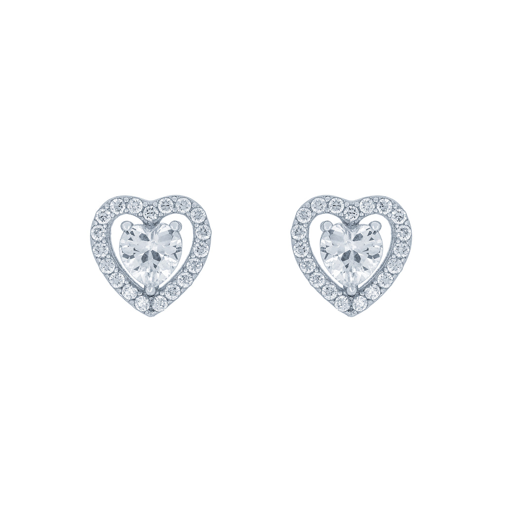 (100097) White Cubic Zirconia Heart Stud Earrings In Sterling Silver
