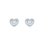 (100098) White Cubic Zirconia Heart Stud Earrings In Sterling Silver