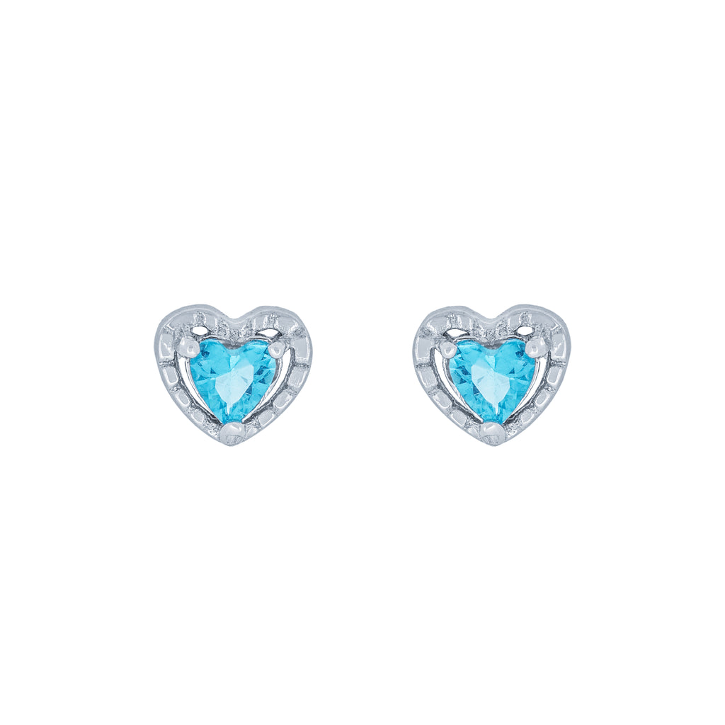 (100099) Simulated Aquamarine Heart Stud Earrings In Sterling Silver