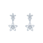 (100100) White Cubic Zirconia Flowers Stud Earrings In Sterling Silver