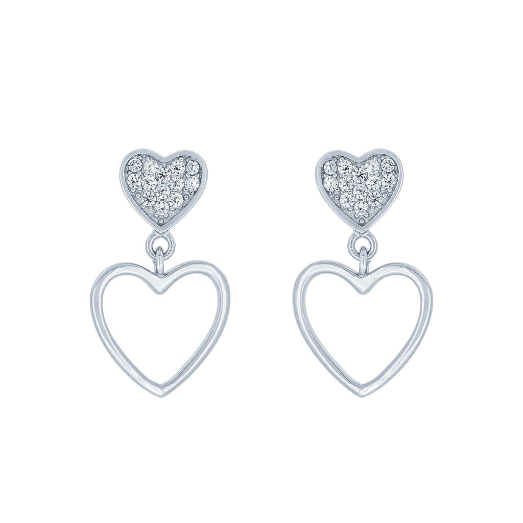 (100101) White Cubic Zirconia Hearts Stud Earrings In Sterling Silver