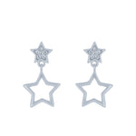 (100102) White Cubic Zirconia Stars Stud Earrings In Sterling Silver