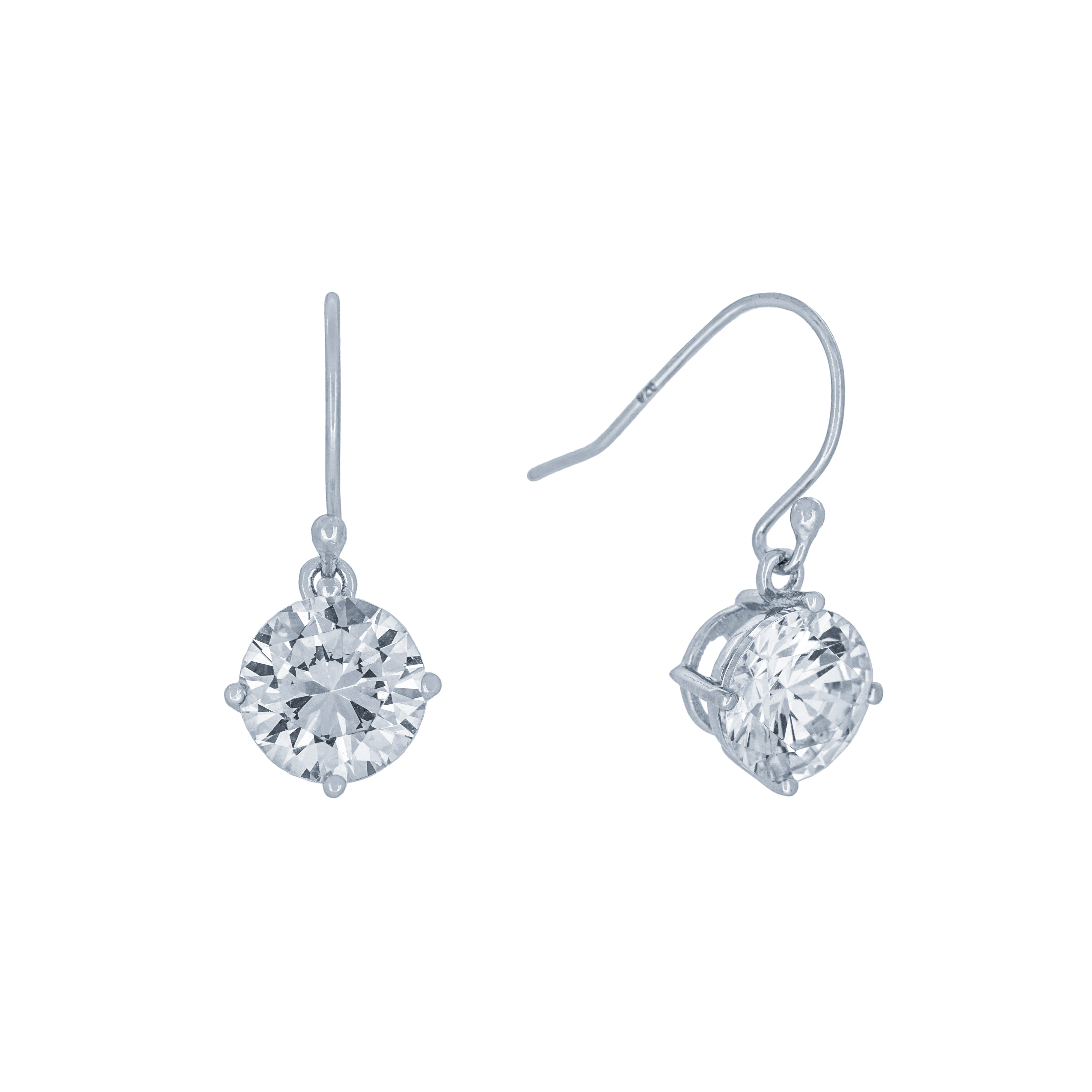 (100105) Round Cut 8mm White Cubic Zirconia Hook Earrings In Sterling Silver