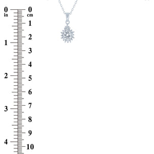 (100106) White Cubic Zirconia Pear Shape Pendant Necklace In Sterling Silver