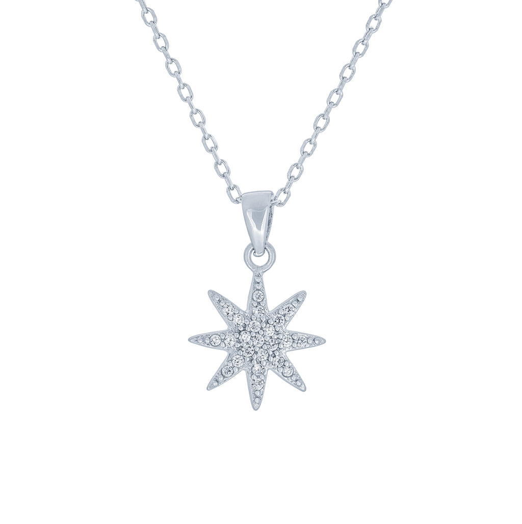 (100107) Snowflake Pendant Necklace In Sterling Silver