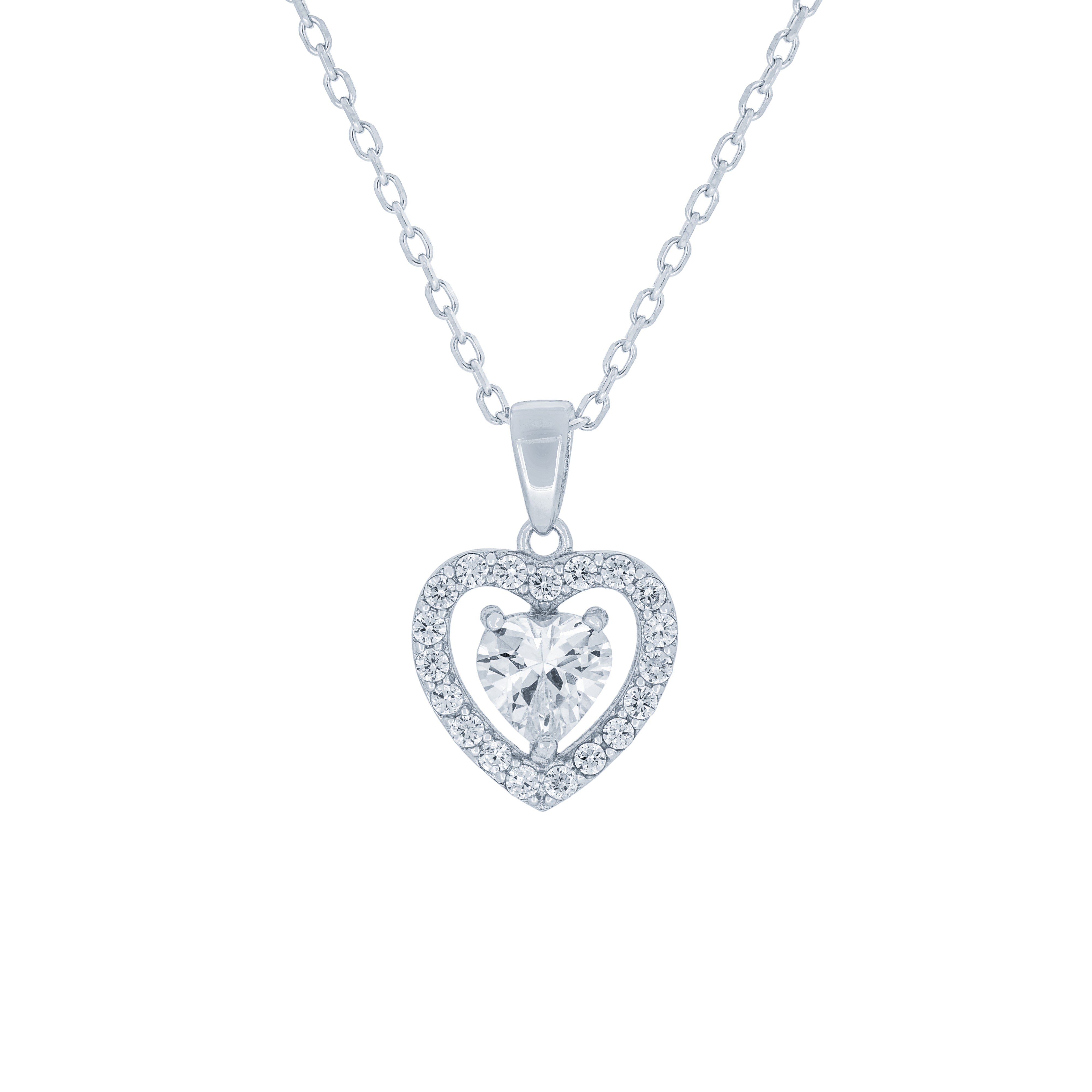 (100108) White Cubic Zirconia Heart Pendant Necklace