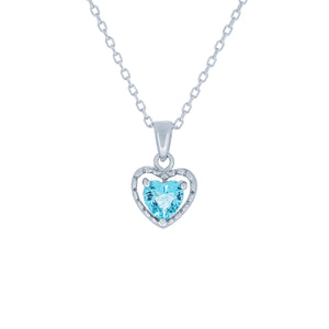 (100109) Simulated Aquamarine Heart Pendant Necklace In Sterling Silver