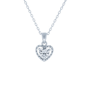 (100110) White Cubic Zirconia Heart Pendant Necklace In Sterling Silver