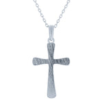 (100111) Brushed Cross Pendant Necklace In Sterling Silver