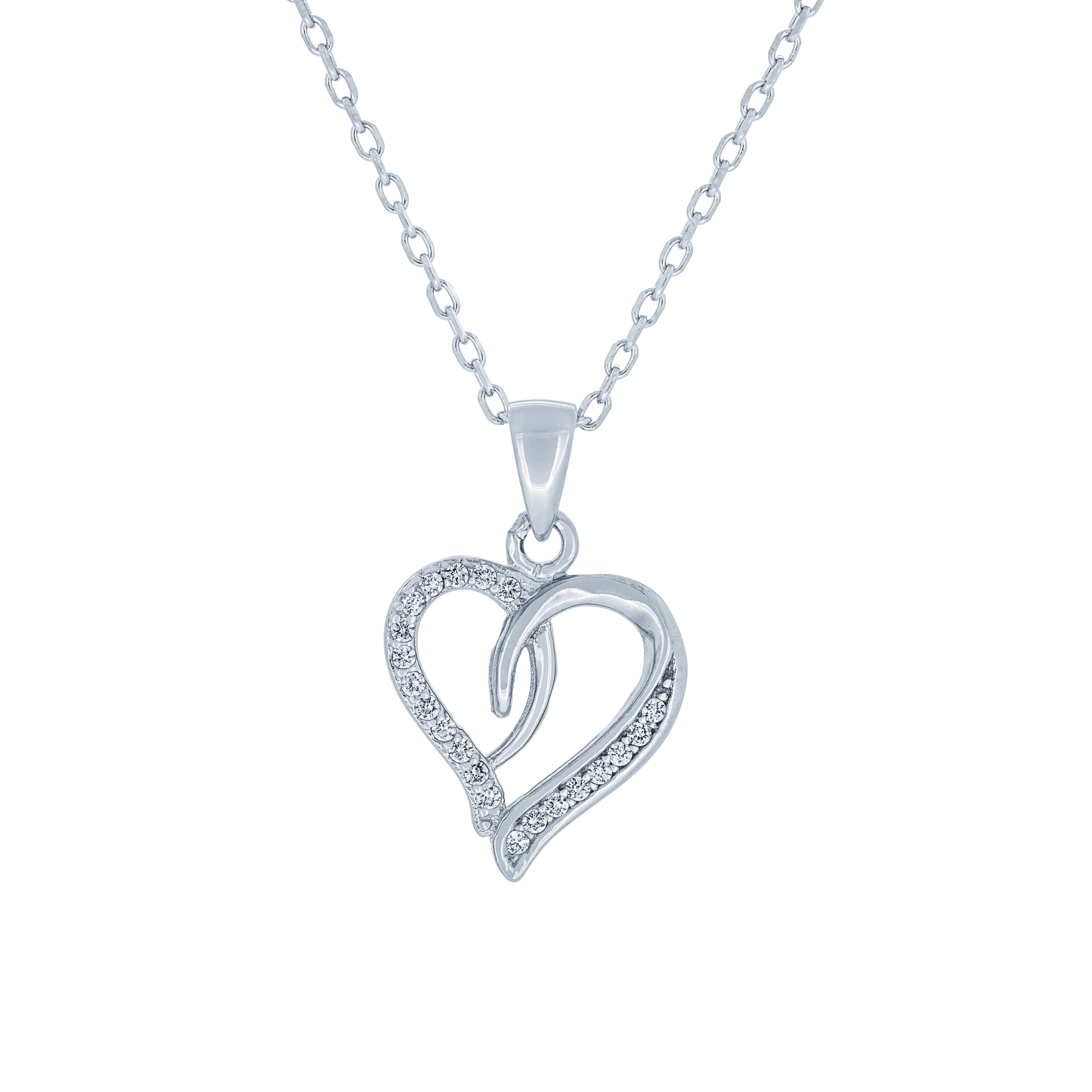 (100112A) White Cubic Zirconia Heart Pendant Necklace In Sterling Silver
