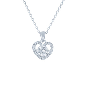 (100113) White Cubic Zirconia Heart Pendant Necklace In Sterling Silver