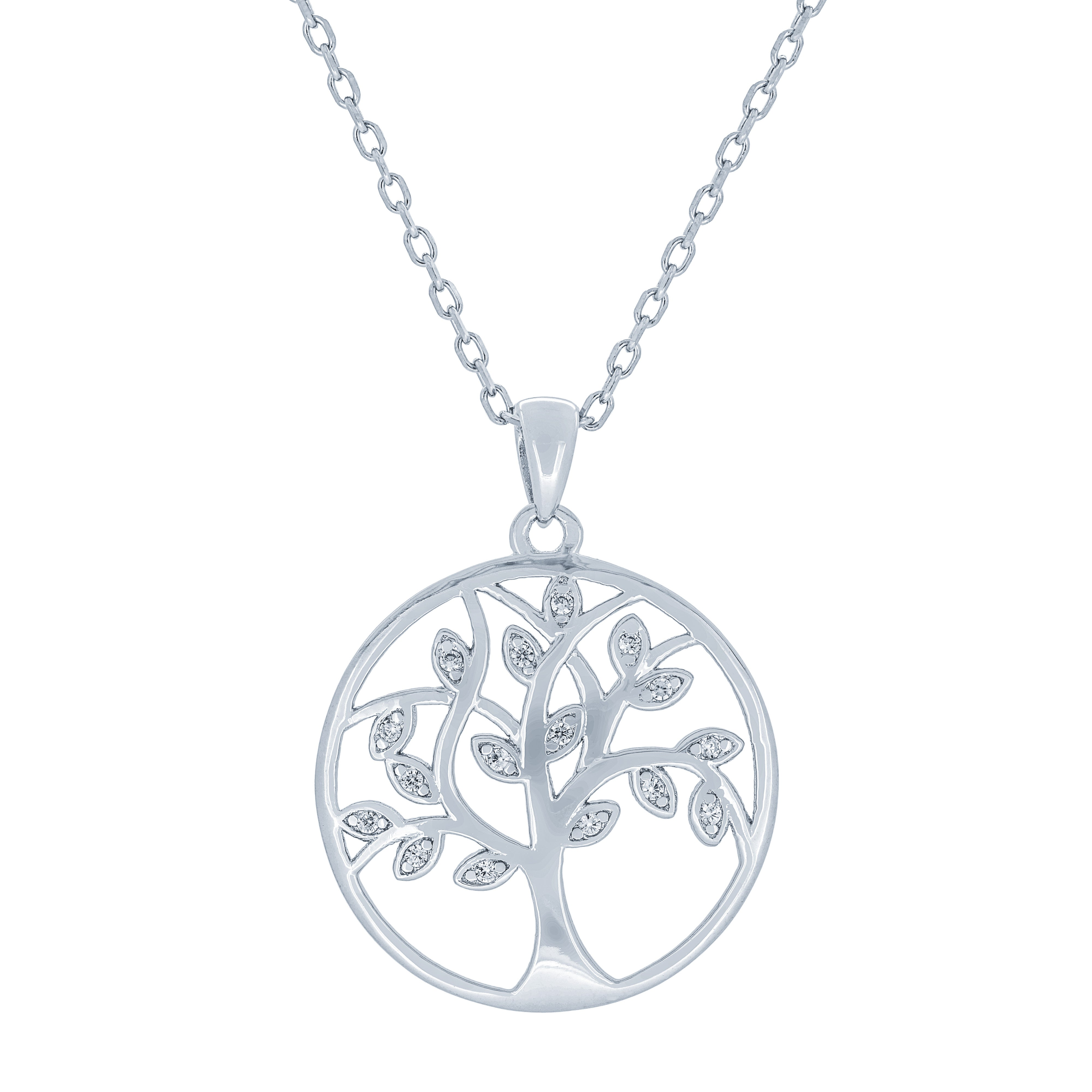 (100117) White Cubic Zirconia Tree Of Life Pendant Necklace In Sterling Silver