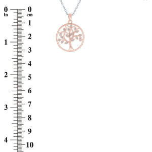 (100117A) White Cubic Zirconia Tree Of Life Pendant Necklace In Sterling Silver and Rose Gold Plate