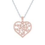 (100118A) Olive Leaf Heart Pendant Necklace In Sterling Silver and Rose Gold Plate
