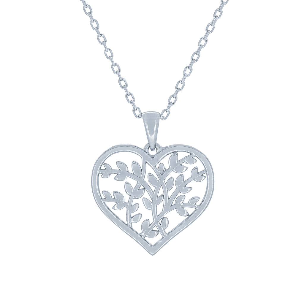 (100118) Olive Leaf Heart Pendant Necklace In Sterling Silver