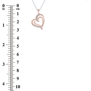 (100119A) White Cubic Zirconia Heart Pendant Necklace In Sterling Silver and Rose Gold Plate