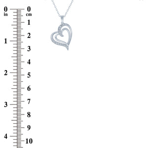 (100119) White Cubic Zirconia Heart Pendant Necklace In Sterling Silver