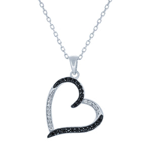 (100120) White & Black Cubic Zirconia Pendant Necklace In Sterling Silver