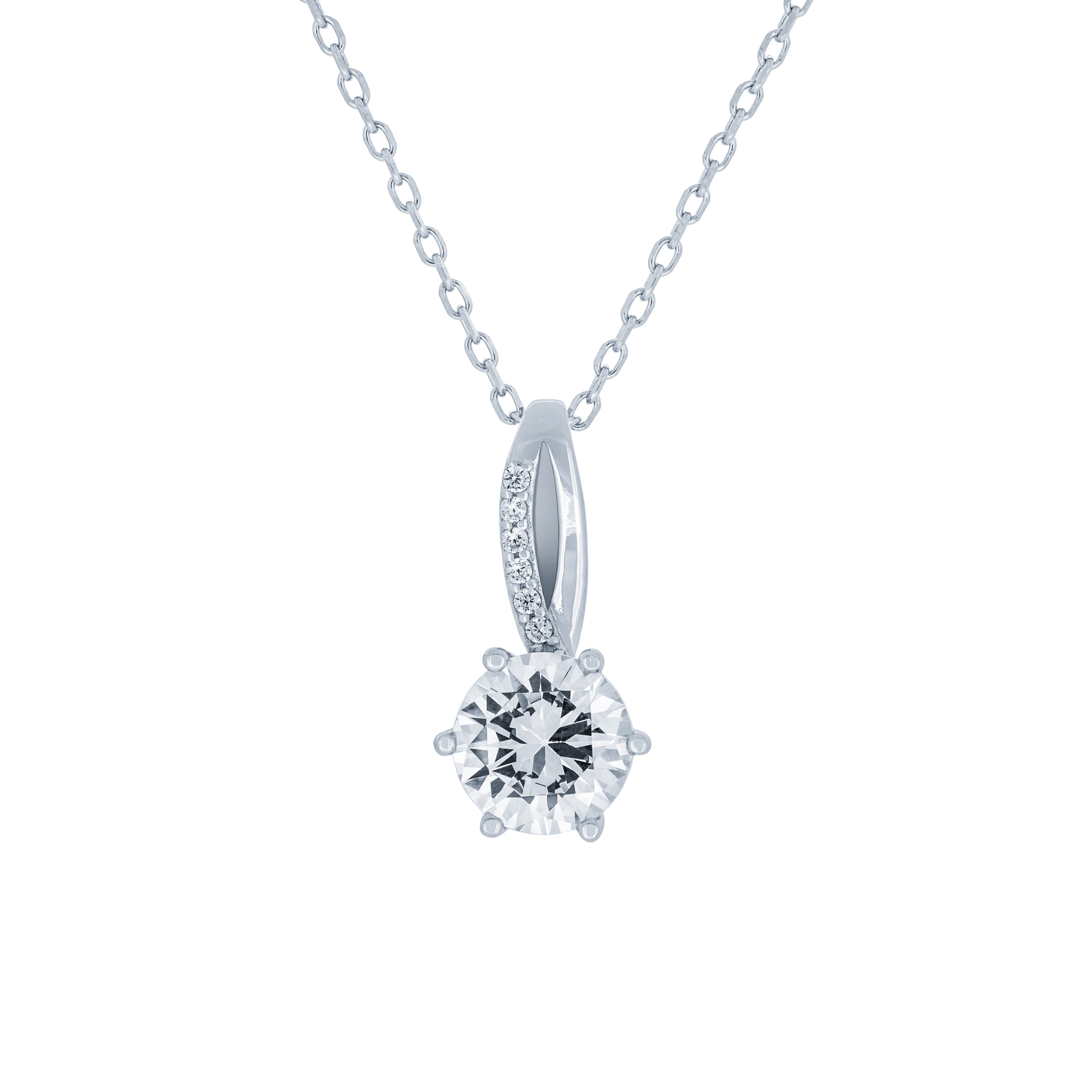 (100121) White Cubic Zirconia Pendant Necklace In Sterling Silver