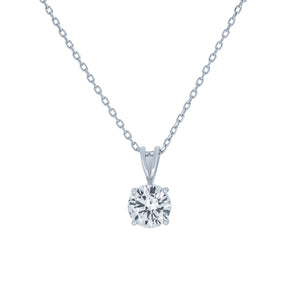 (100122) 7mm Round Cut White Cubic Zirconia Pendant Necklace In Sterling Silver
