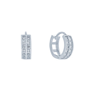 (100123) White Cubic Zirconia 14mm Hoop Earrings In Sterling Silver