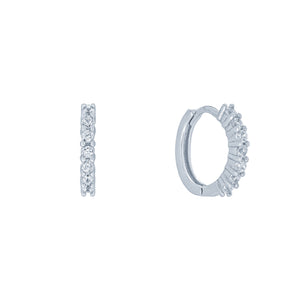 (100124) White Cubic Zirconia 15mm Hoop Earrings In Sterling Silver