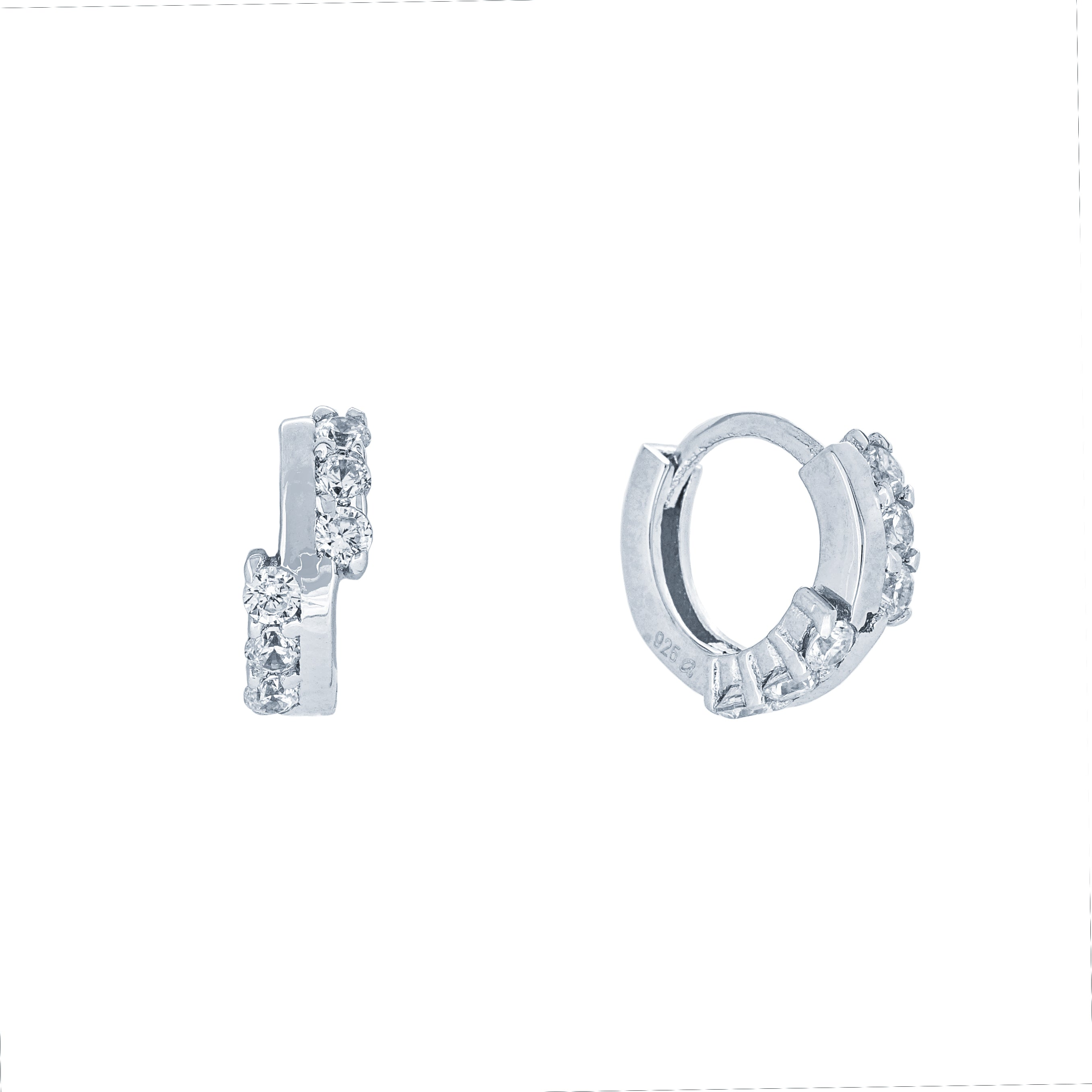 (100125) White Cubic Zirconia 12mm Hoop Earrings In Sterling Silver
