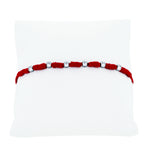 (100130) Red String Bracelet In Sterling Silver