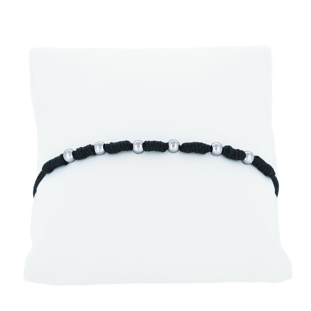 (100132) Black String Bracelet In Sterling Silver