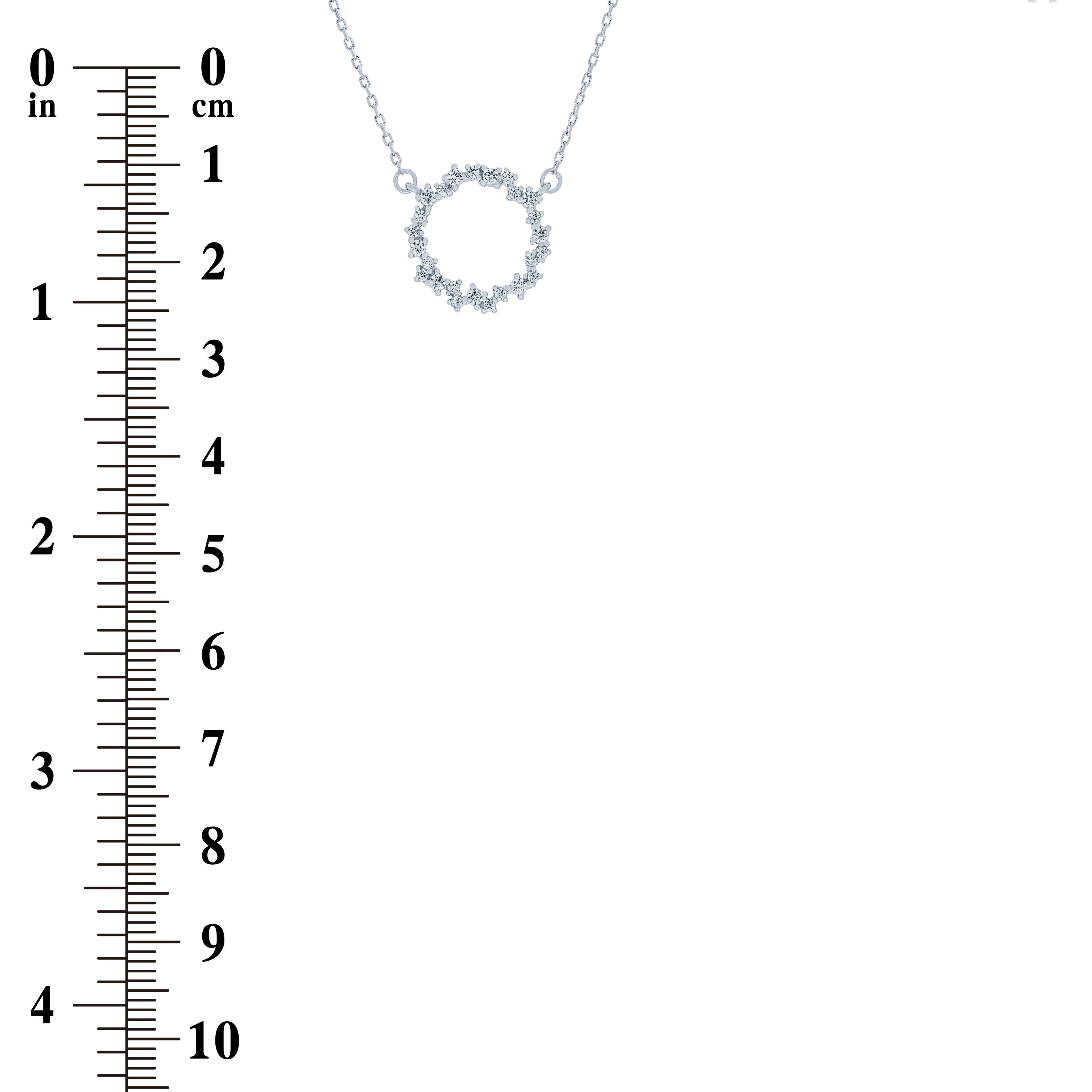 (100135) Circle White Cubic Zirconia Necklace In Sterling Silver