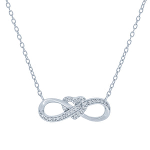 (100137) White Cubic Zirconia Infinity Heart Necklace In Sterling Silver