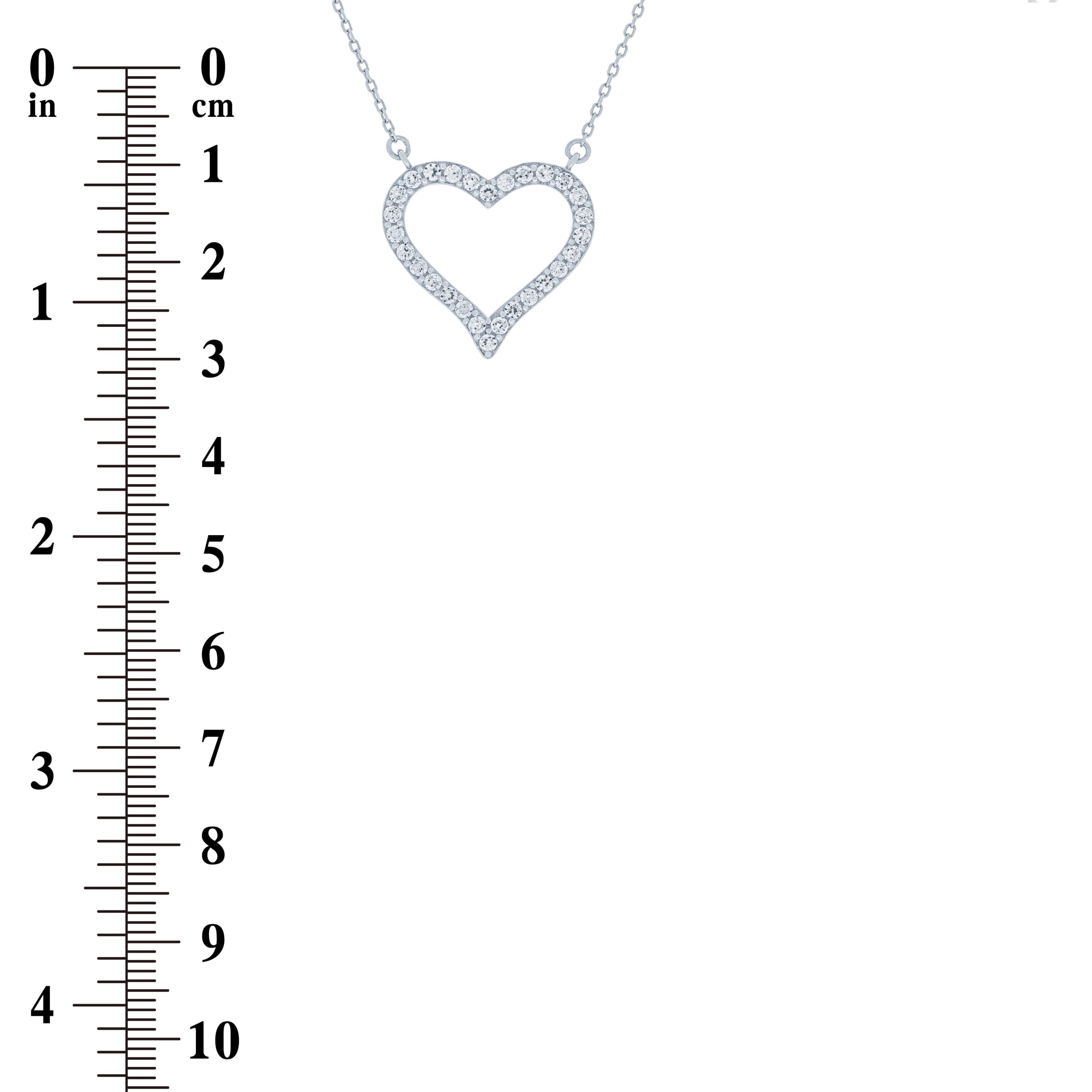 (100138) White Cubic Zirconia Heart Pendant Necklace In Sterling Silver