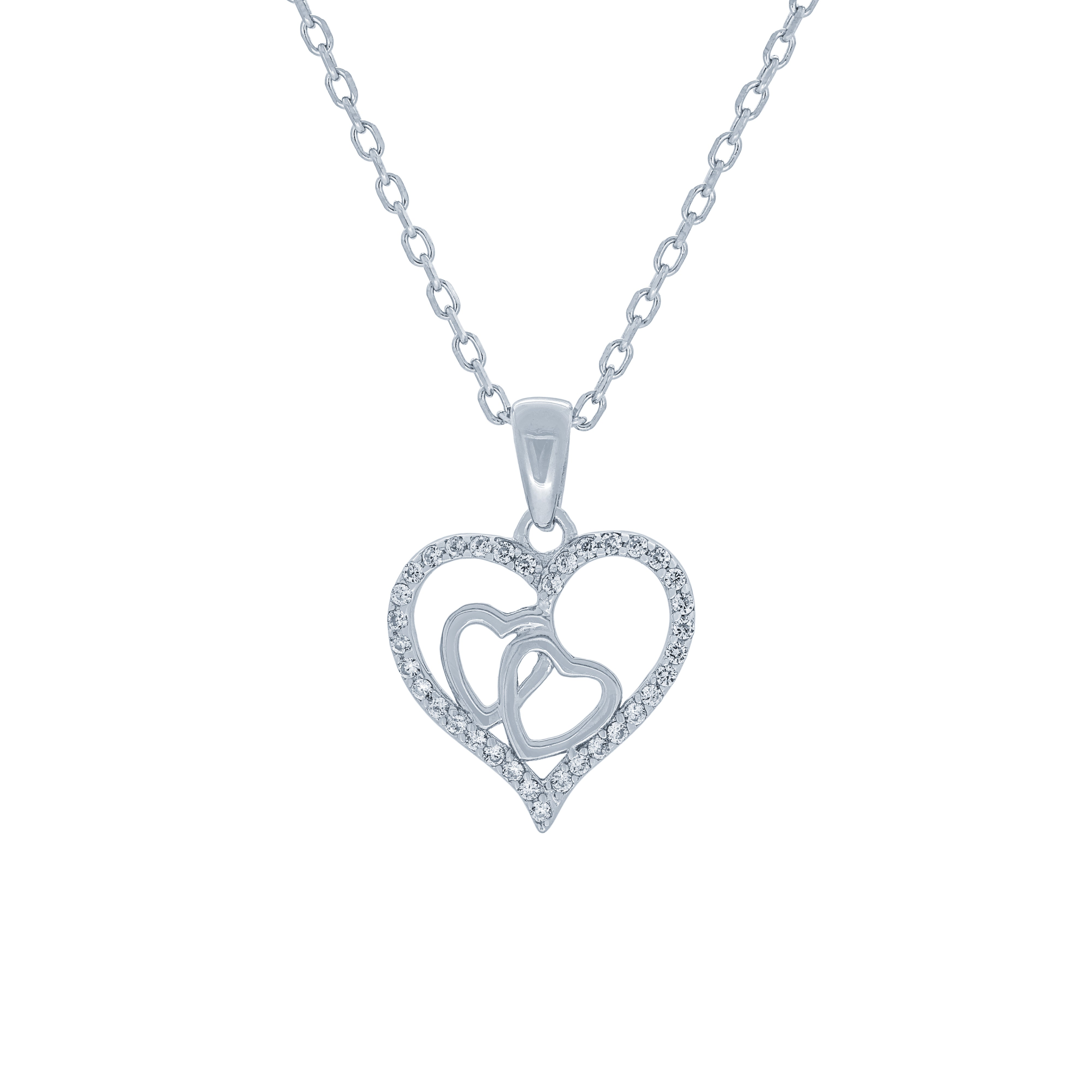 (100144) White Cubic Zirconia Heart Pendant Necklace In Sterling Silver