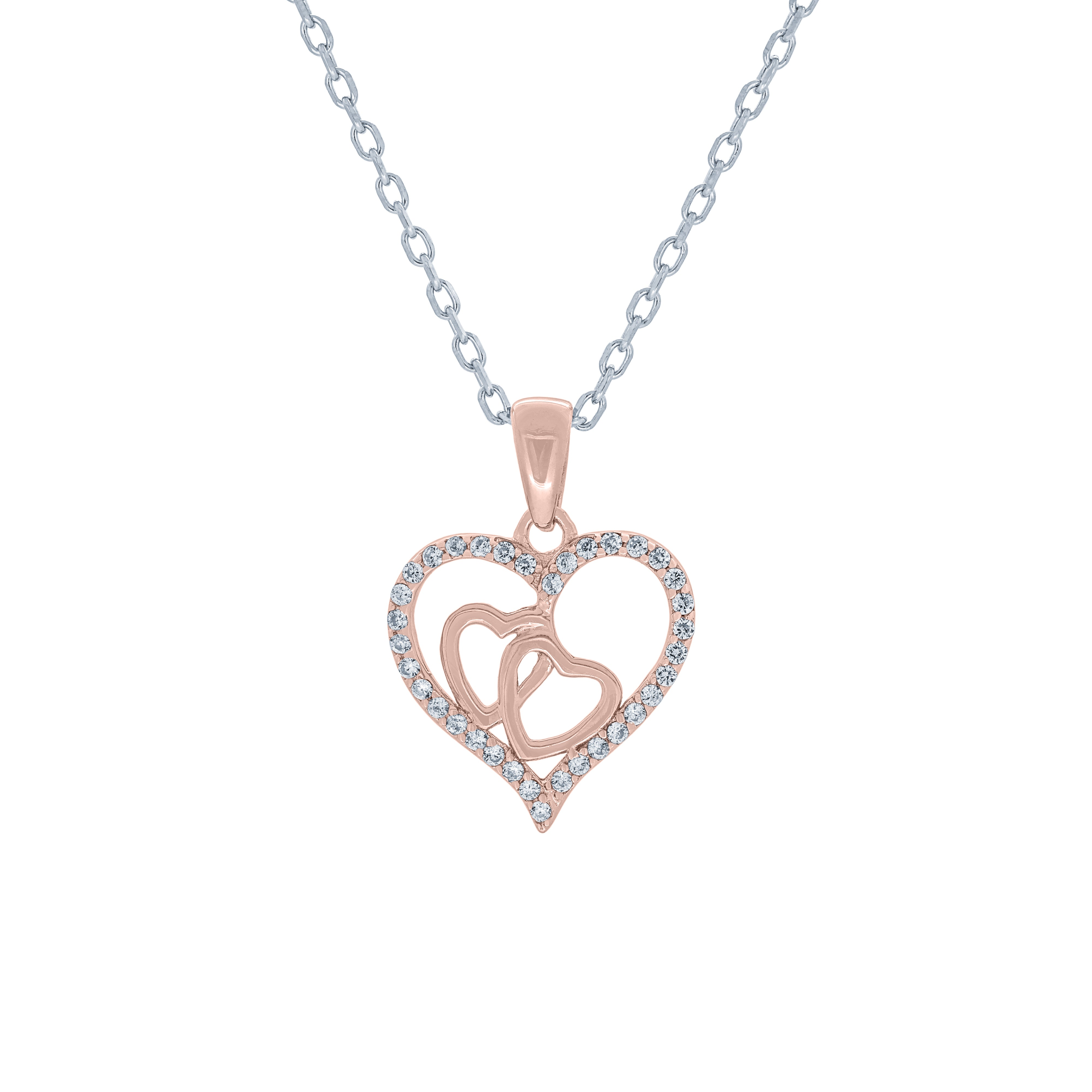 (100144A) White Cubic Zirconia Heart Pendant Necklace In Sterling Silver and Rose Gold Plate