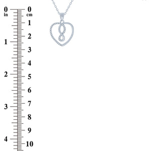 (100145) White Cubic Zirconia Infinity Heart Pendant Necklace In Sterling Silver