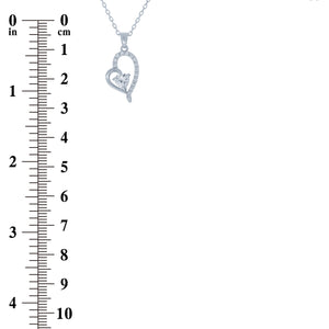 (100146) White Cubic Zirconia Heart Pendant Necklace In Sterling Silver