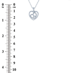 (100149) White Cubic Zirconia Heart Pendant Necklace In Sterling Silver